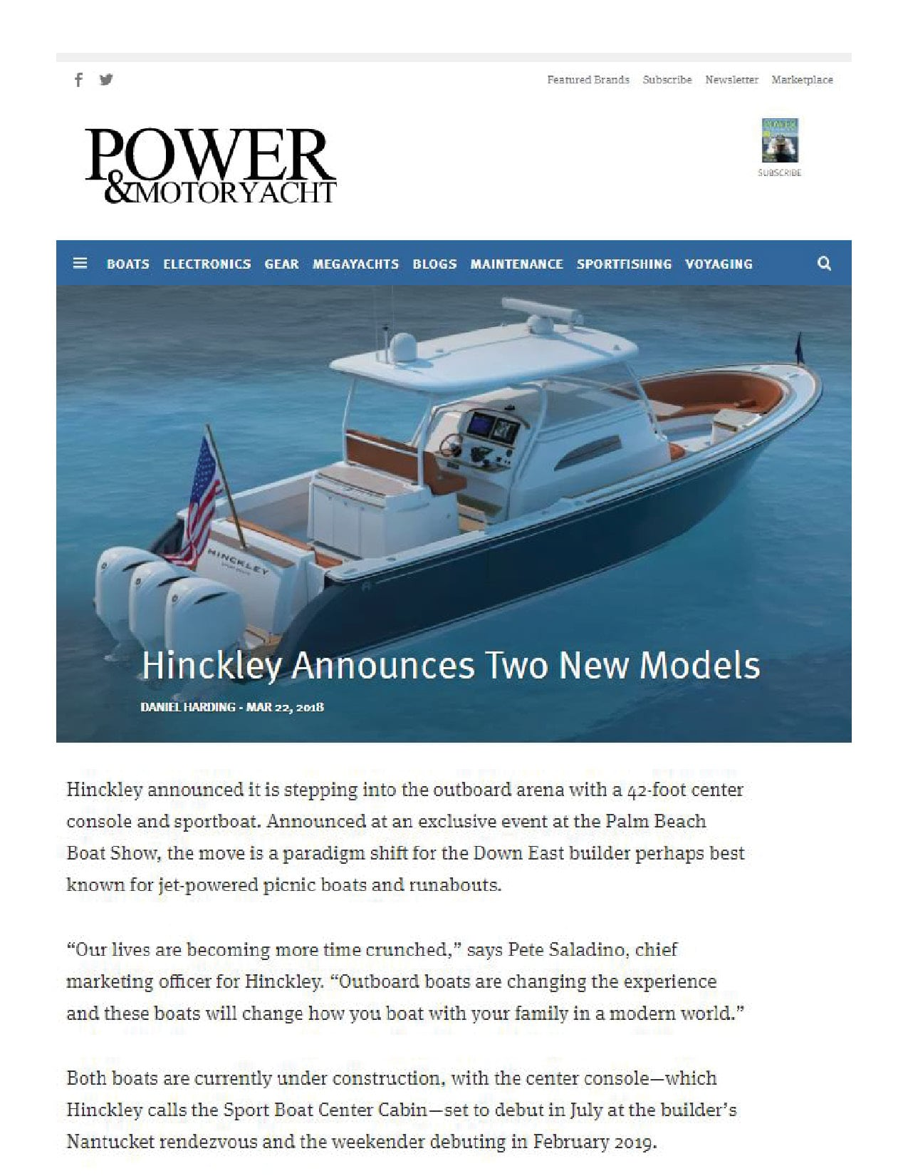 Hinckley Sport Boats Featured on Power & Motoryacht | March 2018