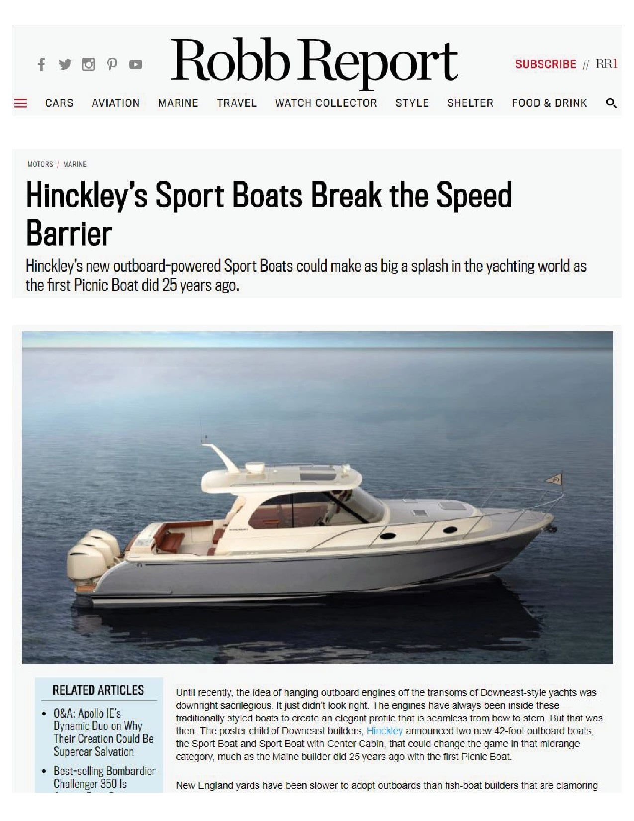 Hinckley Sport Boats Featured on Robb Report | March 2018