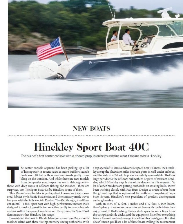 Hinckley Sport Boats Featured on Power & Motoryacht | November 2018