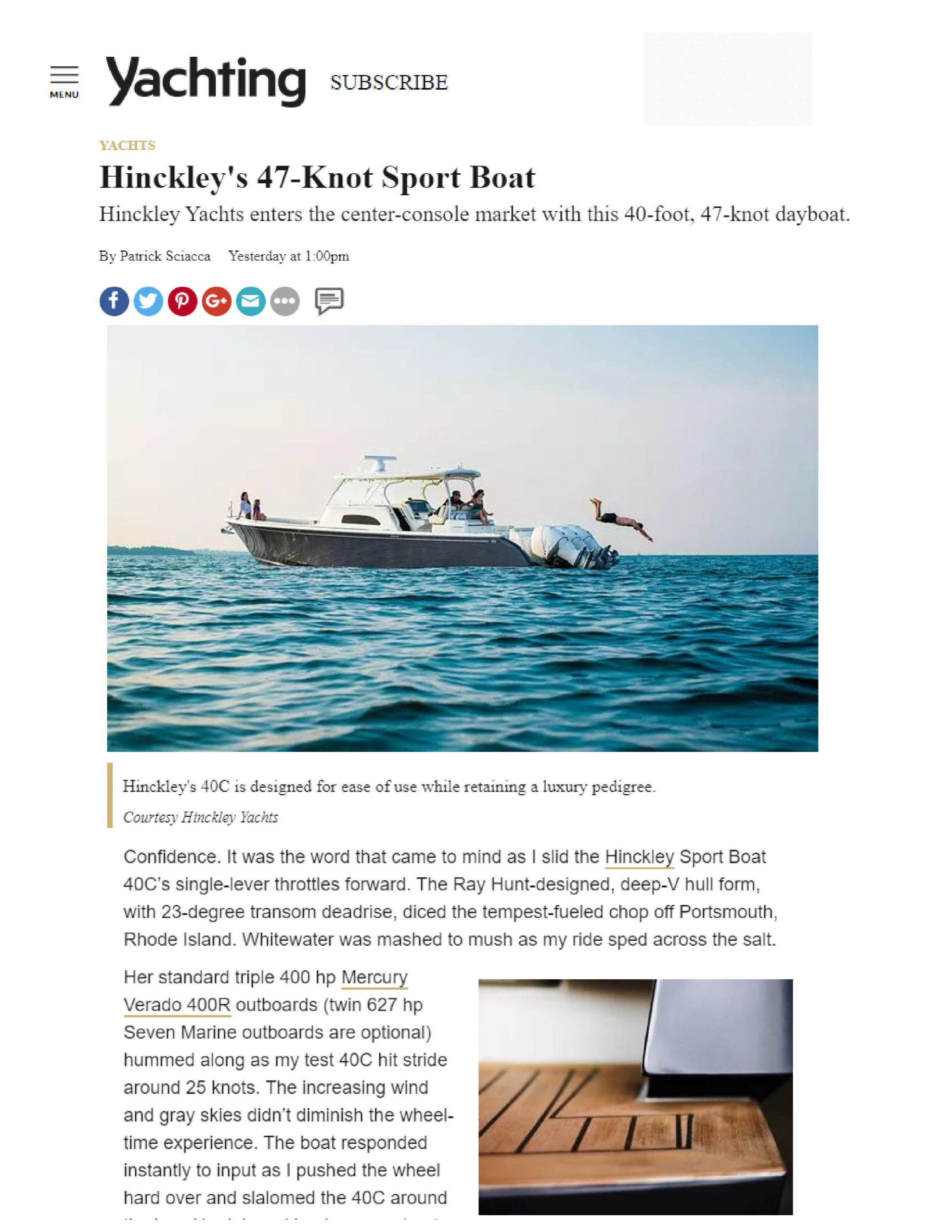 Sport Boat 40c Featured on Yachting | March 2019