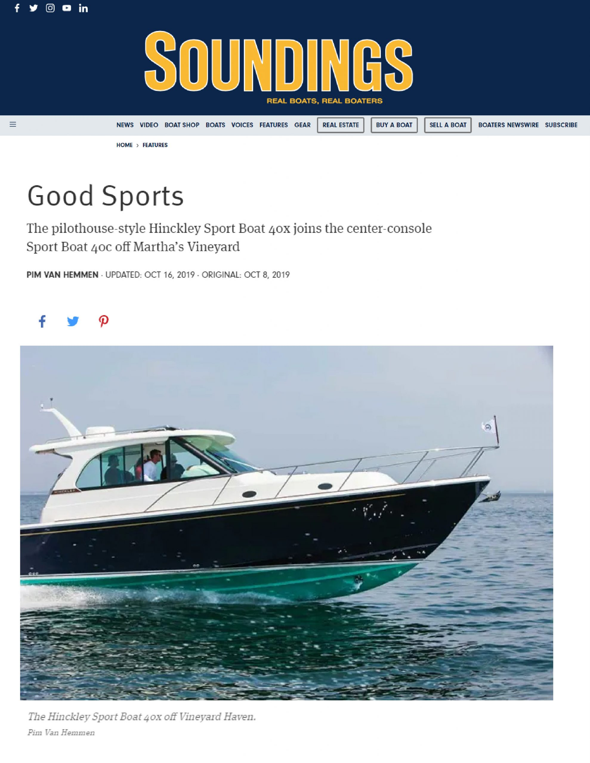 Hinckley Sport Boats Featured on Soundings | October 2019